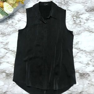 Theory Black Silk Button Down Sleeveless Top